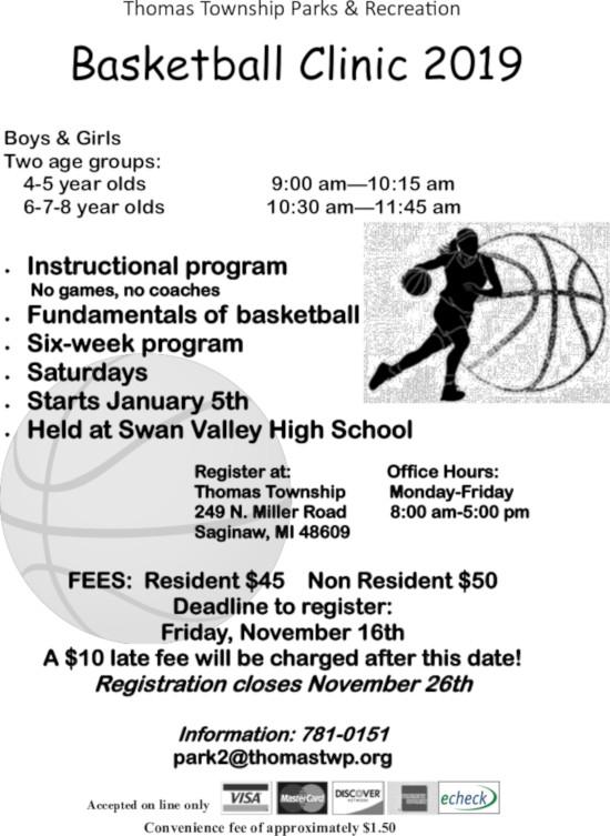 2018 Basketball Clinic Flyer Thomas Townshipthomas Township
